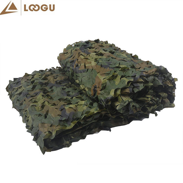 LOOGU 1.5M*2M Military Camouflage Net 150D Polyester Oxford Sun Shelter Car-Covers Tents Camouflage Netting for Camping Hunting