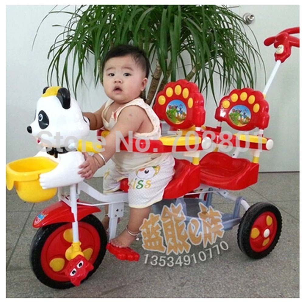 Panda music Tandem Trike Double Seat Face To Face Tricycle,Steel Frame Twins Tricycle For 2 kids,Blue Or Red color Baby Gift