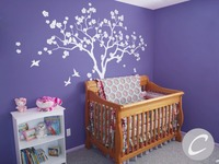 Large Tree White Tree Blossom Nursery Tree Wall Mural Kids Nursery Bedroom Decor Wall Decals Birch Tree With Birds Sticker D 308