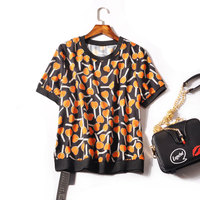 Korean Vadim Blouse Petal Sleeve Blusa Plus Size Chiffon Polyester Half Print New Special Offer Shein