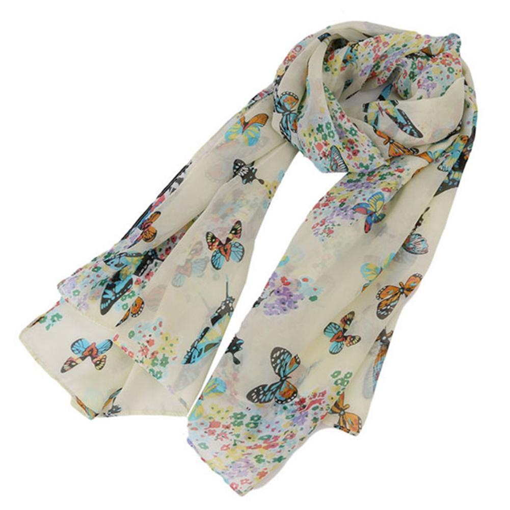 Comfortable Korean Lady Butterfly Print Chiffon Collar Shawl   Scarf     Scarf     Wrapped   In Simple White Chiffon Velvet Rayon