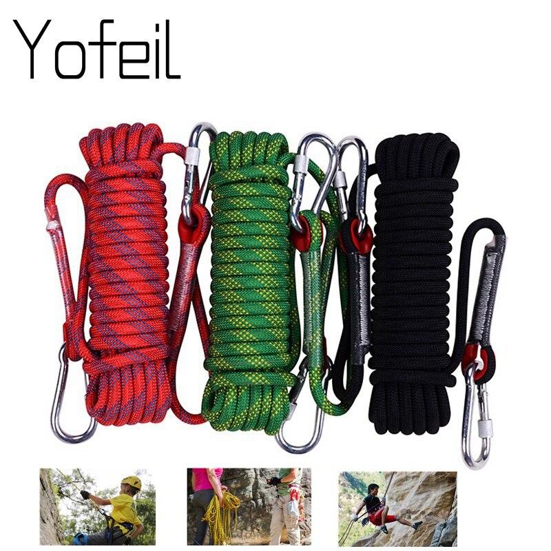 Corde d'escalade extérieure de 10 MM corde de sécurité de corde de 20 M 30 M équipement de randonnée boucle rayée d'opération de haute Altitude d'évasion