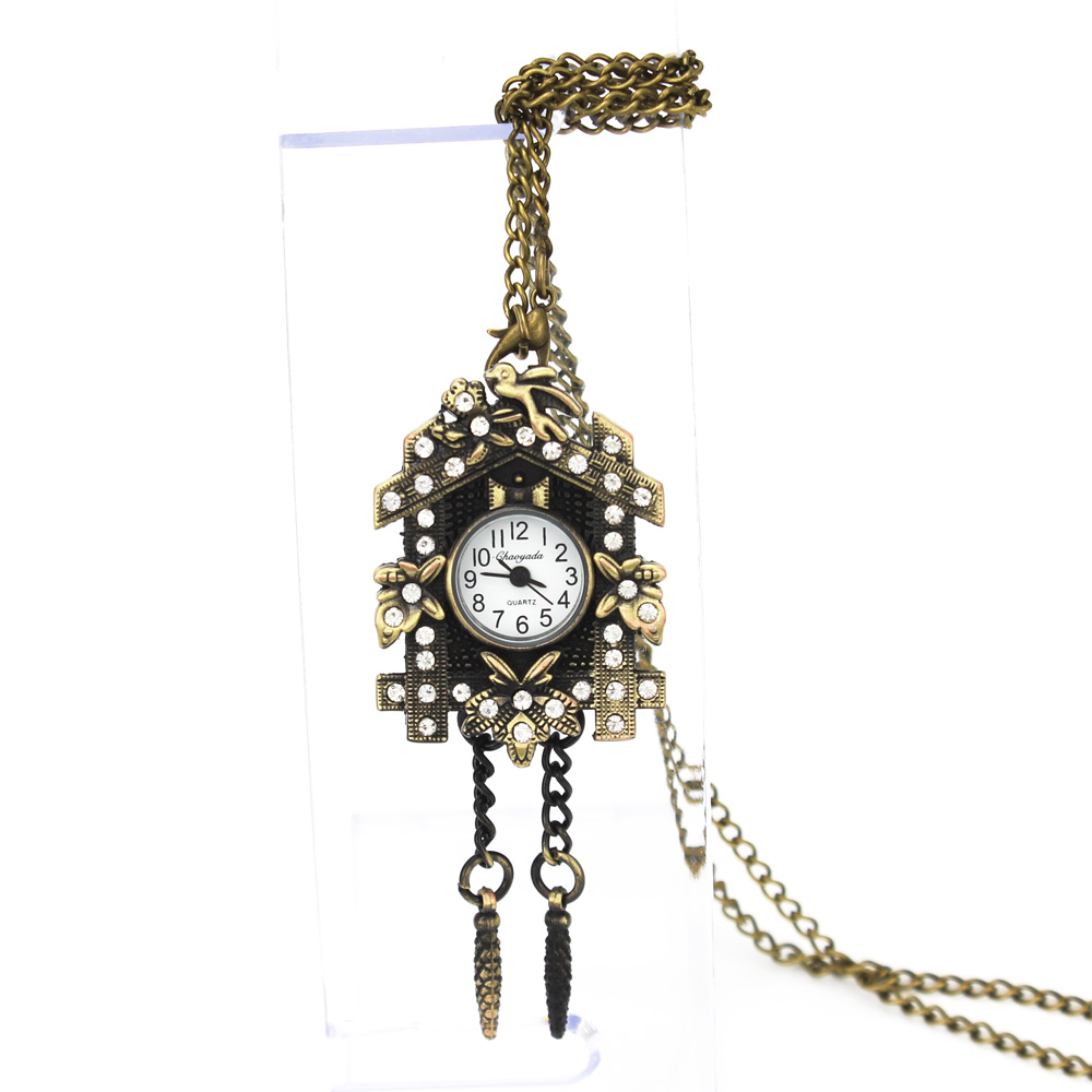 NY Fashion House Crystal Design Hänge Ficka Quartz Watch Chain - Fickur - Foto 2