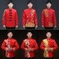 2016 новый китайский мужская одежда сю он свадебное платье платье тонкий красный дракон жених тост платье туника для певец танцор