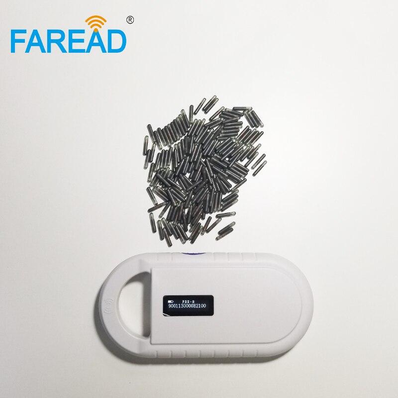 Usine x1pc LF RFID sensible puce pour animaux de compagnie petit lecteur tenu dans la main x60pcs 2.12*12mm poisson verre étiquette microchip 134.2Khz FDX-B