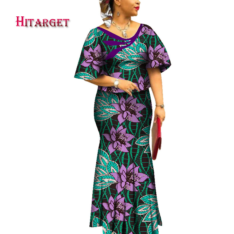 2019 New African Dresses for Women Private Custom Women African Dashiki Skirt Set 2 Pieces Bazin Plus Size Clothing WY4561 in Women 39 s Sets from Women 39 s Clothing