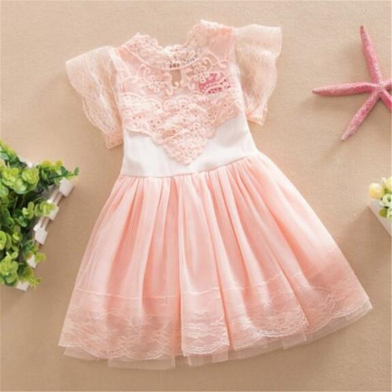 New Summer Baby Cute Kids Clothes Pink/White Flower Girl Dresses Short Sleeve Princess Lace Dress  2-7Y PY6