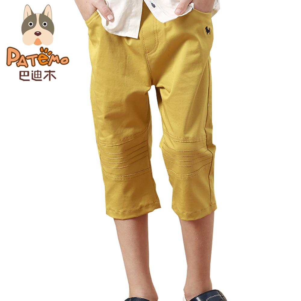 PATEMO Boys Shorts Kids Summer Shorts Cotton Elastic Waist Child Short Pants Knee Length Mustard Yellow