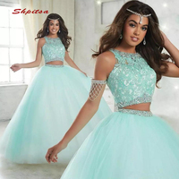 Luxury Crystals Quinceanera Dresses Ball Gown Two 2 Piece Sequin Tulle Prom Debutante Sixteen Sweet 16 Dress vestidos de 15 anos