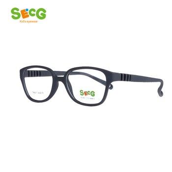SECG Crianças Marca Top de Prescrição Miopia Vidros Ópticos Quadros Resina Óculos Para Crianças Crianças Óculos de Proteção TR911