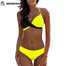 Mounchain Women Swimsuit Sexy Matching Color Split Bikini Set Separated Bra Briefs