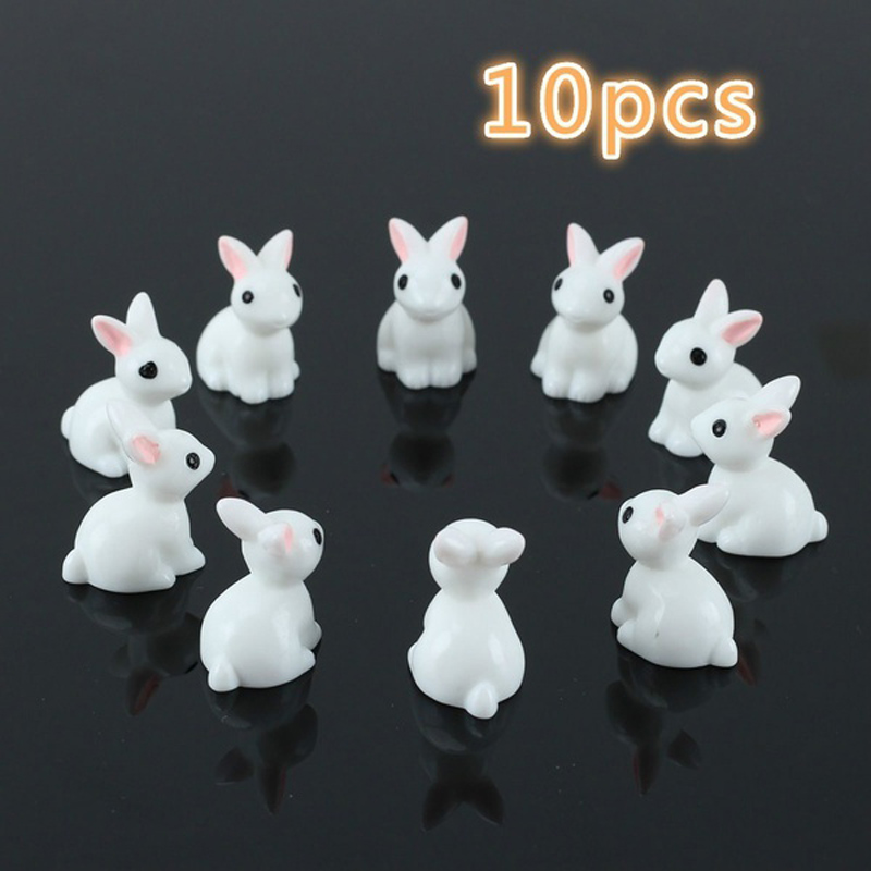 10 Pcs Lovely Miniature Garden Mini Rabbit Resin Fairy Ornament Flower Plant Pot Home Figurine Animal Decor Supply