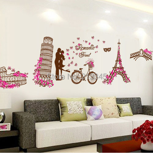 Fundecor Paris Pink Home Decor Wall Stickers Decal Living Room Bedroom Mural Adesivo De Parede In Hair Clips Pins From Beauty