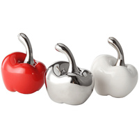 2Pcs Apple Miniatures Arts Crafts red/white/silvery Ceramic fruit Plant Figurines garden decoration home decoration accessories