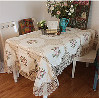 Free shipping cotton linen crochet lace fabric silk ribbon embroidered tablecloth European pastoral tea table/ cloth/cover