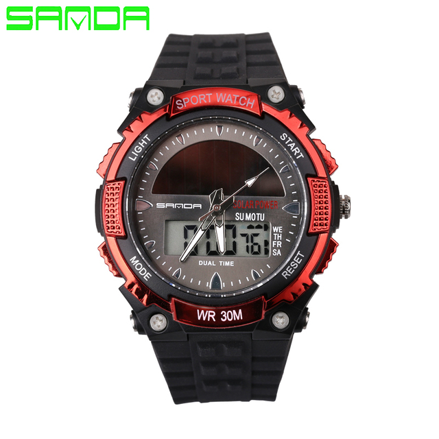 SANDA Men Dual Display Watch LED Digital Quartz Watch Fashion Casual Multifunction Solar Energy Sports Watches