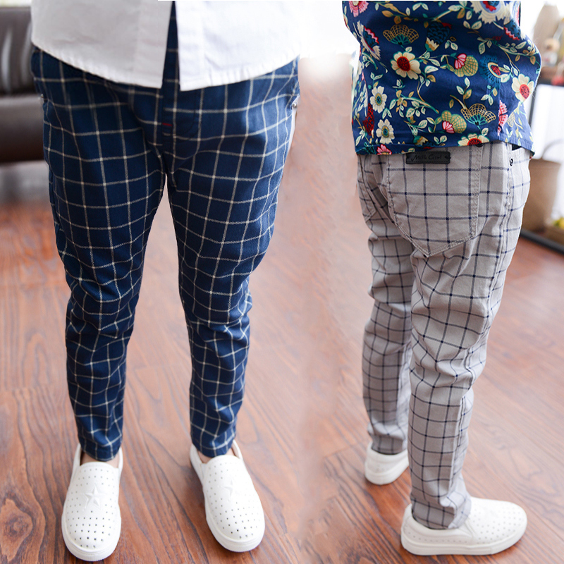 V-TREE boys pants 3-12Y cotton children harem pants kids plaid trousers roupas infantis menino children school pants clothes