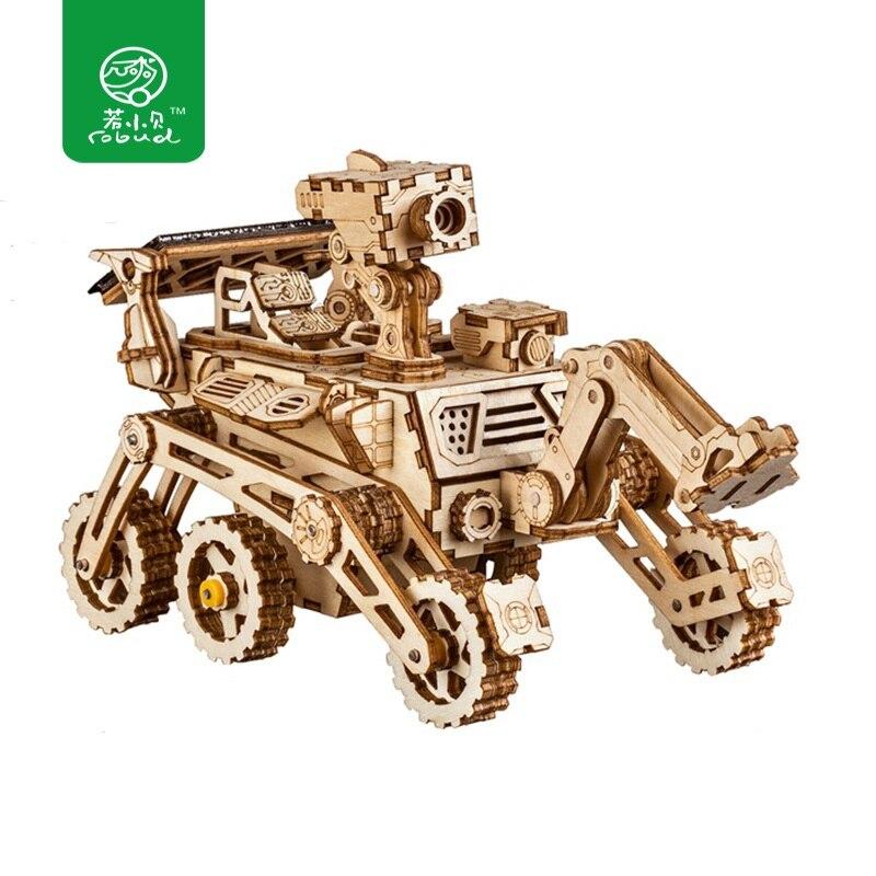 Robud Mobile Espace Chasse L'énergie Solaire jouet motorisé 3D bricolage modèle en bois De Découpe Laser Kits de Construction Cadeau pour Enfants Adulte LS