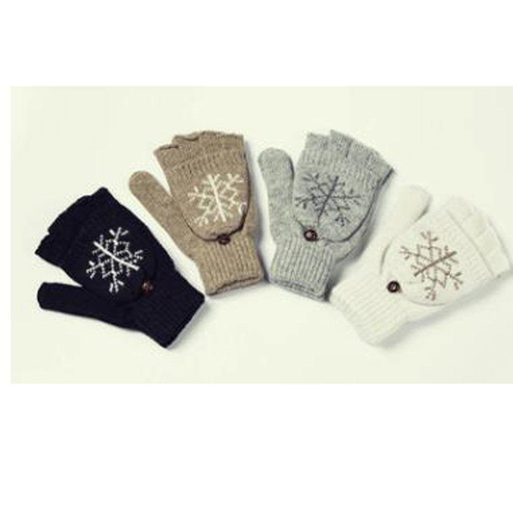 Apparel Accessories New Winter Snowflake Wool Lady Flap Gloves Christmas Gift Fashion Handschoenen Dames Fingerless Gloves Mitaine Homme Aromatic Flavor