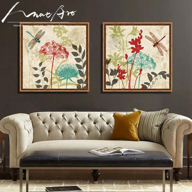 Bana fiori e libellule vintage floral stampe quadri su tela per ...