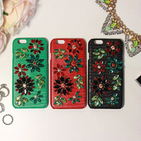 Luxury DG Classic Brand Handmade Rhinestone Case For Iphone6 Genuine Leather Cover Case For Iphone 6s