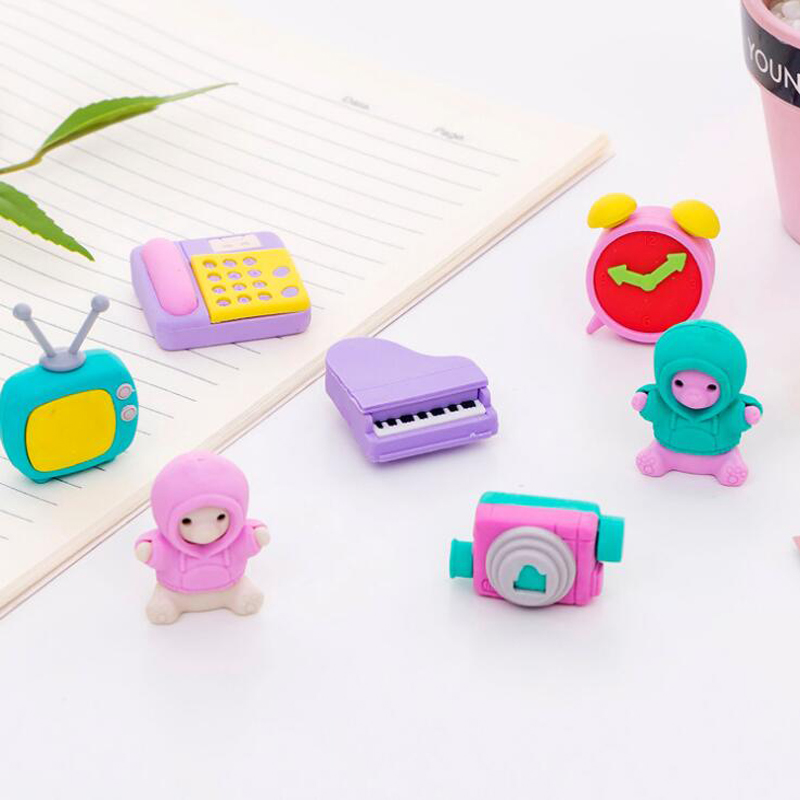 4 Pcs Creative Cartoon TV Piano Camera Home Series Eraser Kids Pencil Writing Correction Rubber Gift Office School Supplies