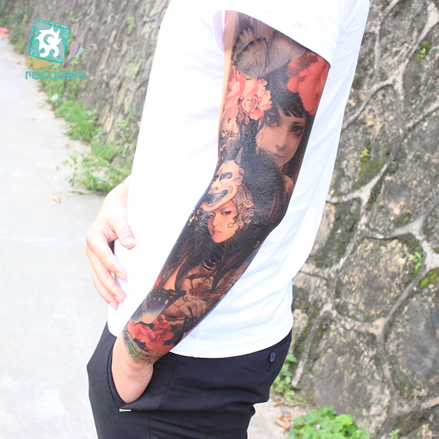 "AC-070~74 New Arrival 2017 Coolest Full Arm Extra Large Leg Temporary Tattoos Body Art Tattoo Stickers, Full Arm Women 6""X 18"""