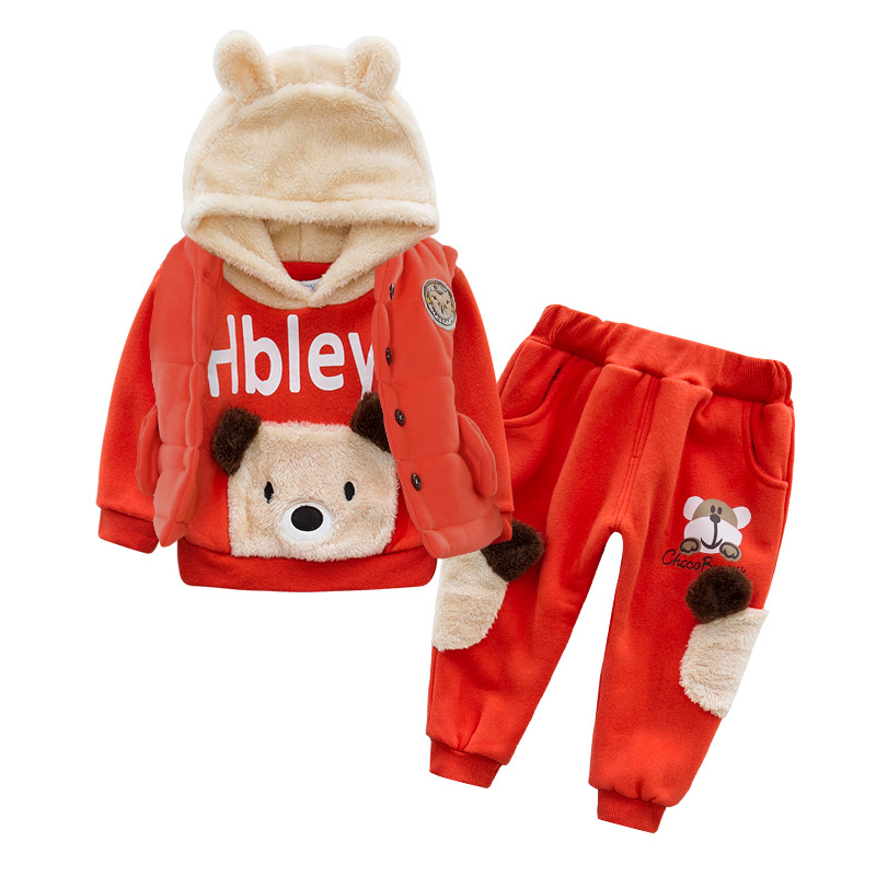 ФОТО Anlencool Baby boys New Teddy Bear new winter coat cotton three-piece baby clothes set in winter baby boys clothing
