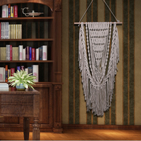 110*60CM Bohemian Handmade Macrame Woven Wall Hanging Tapestry Backdrop Background Cotton Wall Art Home Decorations