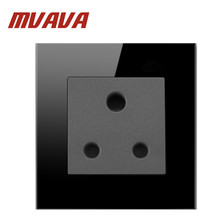 цена на Mvava 15A UK Switched Socket Luxury Black High Quality Crystal Glass 15 UK South Africa Wall Socket  Free Shipping
