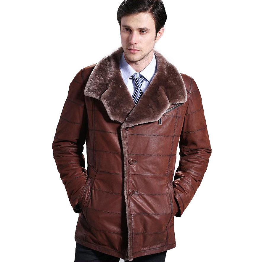 2017 Hot Calf Skin Real Leather Cowhide Slim Merino Sheepskin Fur Wool Double-faced Male Medium Long Jacket Overcoat Clothing