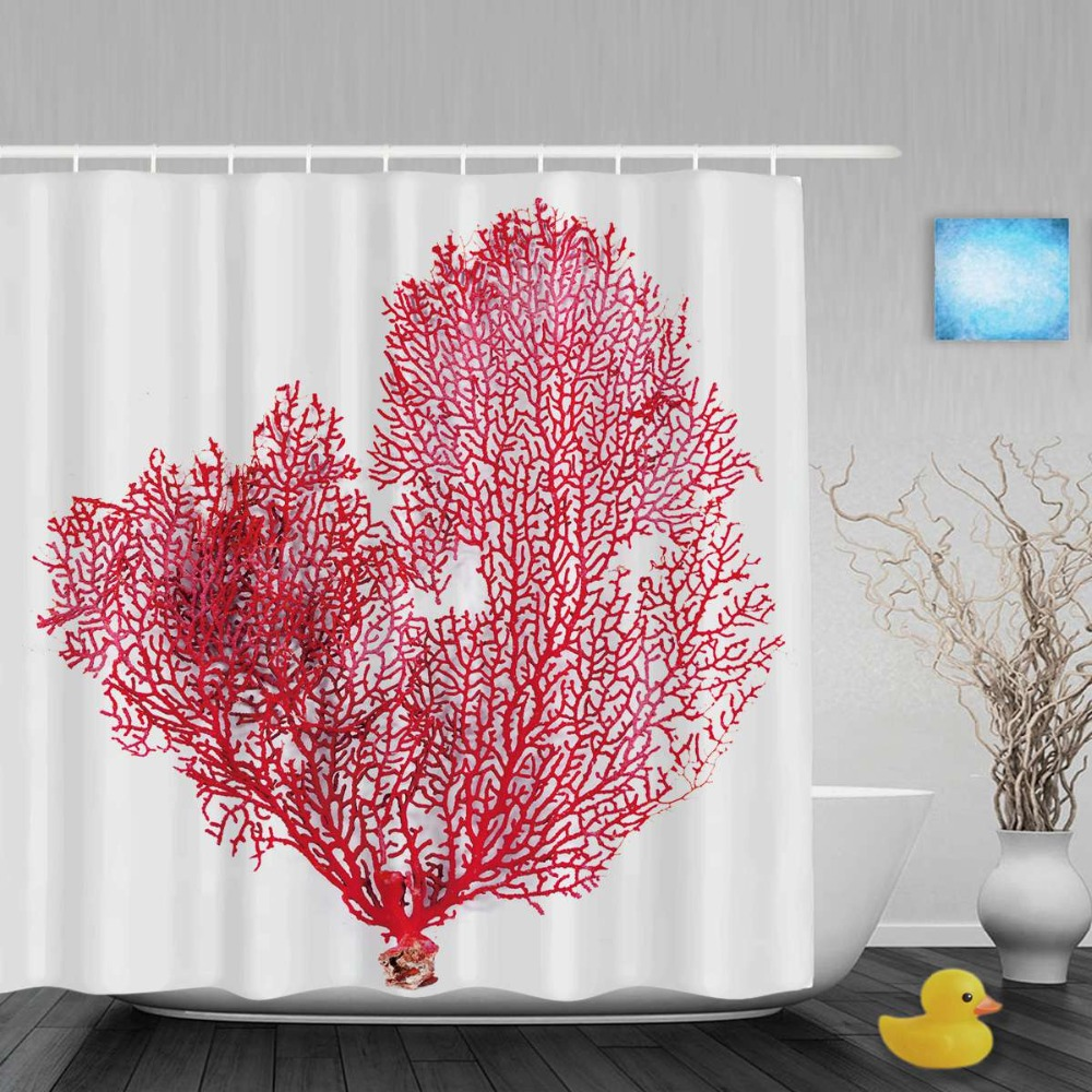 Customize Red Gorgonian Bathroom Shower Curtain Beautiful Sea Coral Decor Shower Curtains Waterproof Polyester Fabric With Hooks