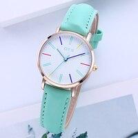 OTS Brand High Quality Quartz Watches Green Leather Strap Wristwatches Fashion Women Watch Ladies Clock Wrist