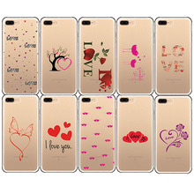 Red Love heart Romantic Pattern words I love you soft silicone Phone cases cover for iphone 7 8 PLUS 5 5s se 8plus X 6 6s XS MAX