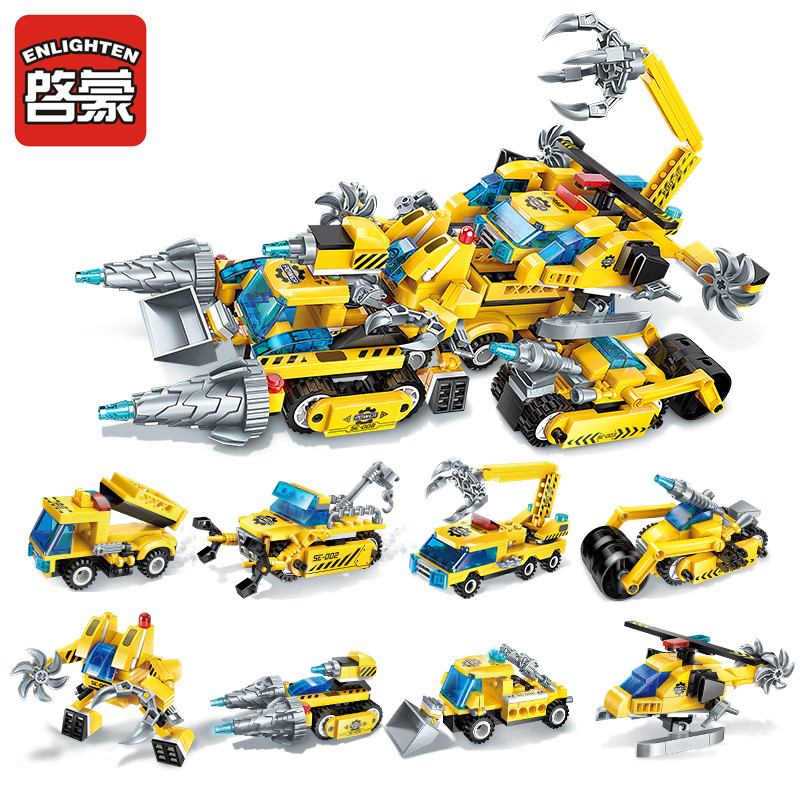 Enlighten Construction Engineering Building Block Technic 8 in1 The Legend of Chariot 622pcs Educational Bricks Toy partes del cable同軸