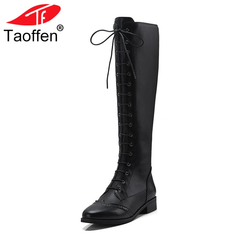 Taoffen New Women Genuine Leather Flats Boots Winter Lace Up Fur Shoes Women Knee High Boots Gladiator Warm Shoes Size 34-39 taoffen luxury women genuine leather mid calf boots winter plush fur warm shoes women gothic buckle flats boots size 34 39