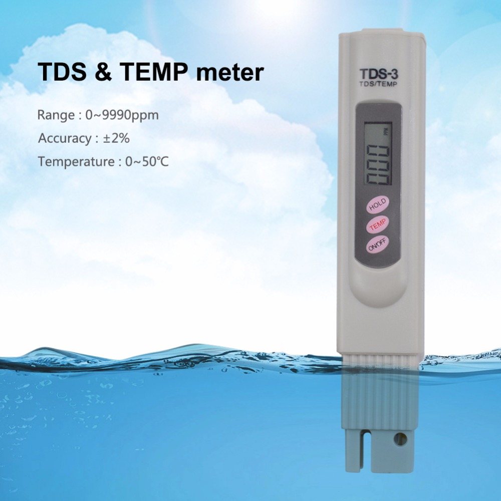 100pcs lots New LCD Digital TDS Meter TDS 3 Water Quality Purity Tester Pen Filter Temp