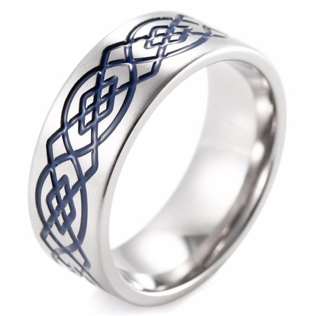 SHARDON 8mm Titanium Wedding Band Blue Celtic Infinity Knot Pattern