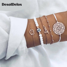 5 Pcs/ Set Female Retro Map Heart Love Bead Round Gem Leather Chain Silver Bracelet Set Personality Girl Christmas Gift
