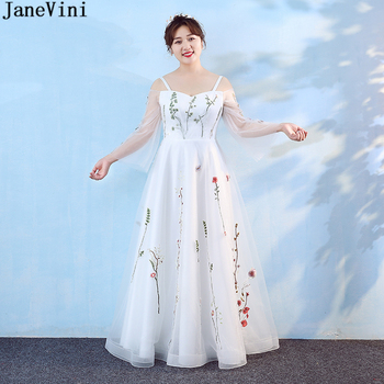 JaneVini White Tulle Mother of The Bride Dresses Plus Size Spaghetti Straps Long Sleeves Flowers Pattern Charming Evening Gowns