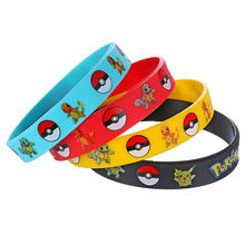 1pc Pikachu Pocket Monster Armband Pokemon Gaan Siliconen Polsbandjes Mannen Vrouwen Rubber Power Bangles Partij Gunsten Geschenken Accessoires(China)