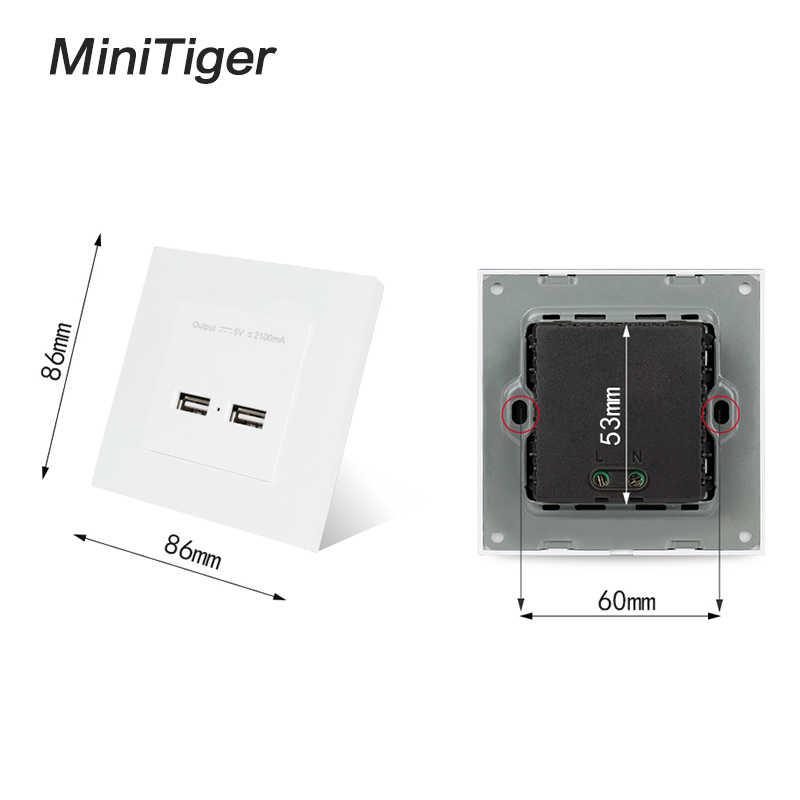 Minitiger ścienne Panel PC w wielkiej brytanii ścienne gniazdo zasilające gniazdka elektrycznego podwójny USB Smart Port ładowania 5 V 2A wyjście