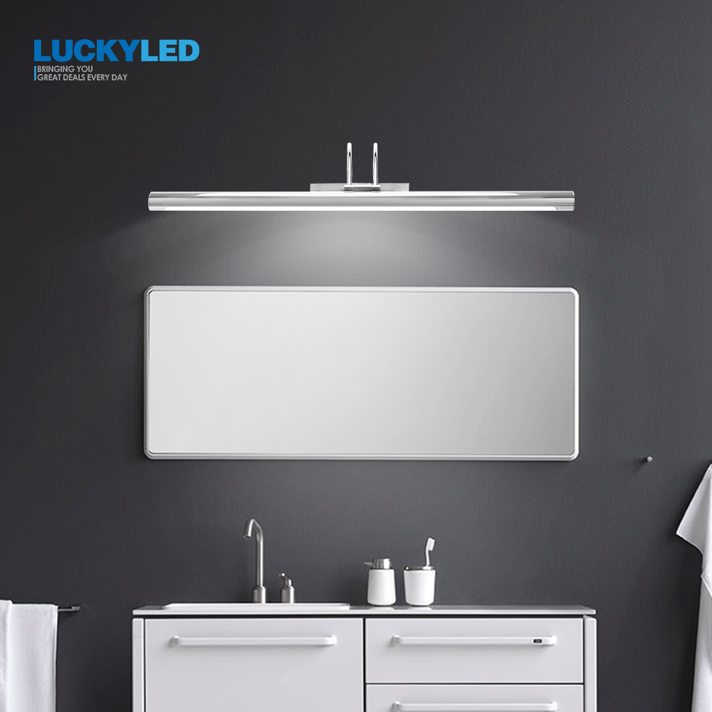 Image 2 - LUCKYLED Modern Led Mirror Light  8W 12W AC90 260V Wall Mounted Industrial Wall Lamp Bathroom Light Waterproof Stainless Steel-in LED Indoor Wall Lamps from Lights & Lighting