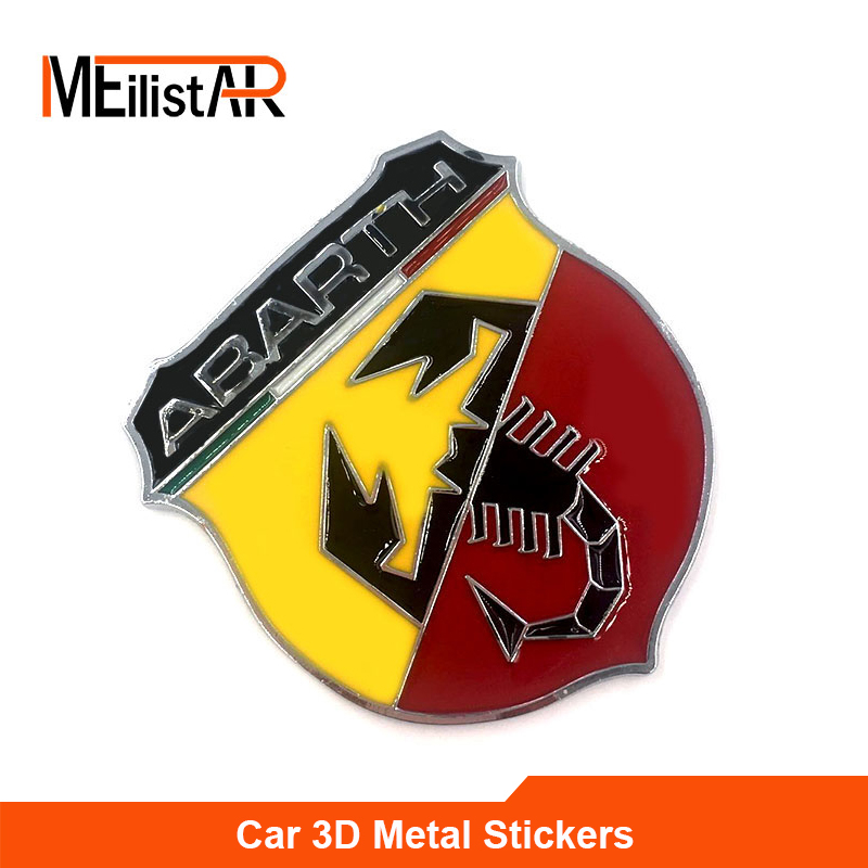 3D 3M Car Abarth Metal Adhesive Badge Emblem logo Decal Sticker Scorpion For All Fiat Abarth Punto 124/125/125/500 Car Styling auto chrome camaro letters for 1968 1969 camaro emblem badge sticker