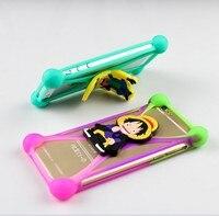 50 pçs/lote anti bater Ponto Dos Desenhos Animados 3D Silicone Telefone Bumper Quadro Com a função de suporte Universal Para Iphone Para Samsung Galaxy