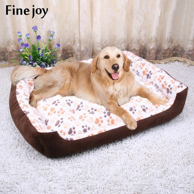 Fine Joy Dog Beds Winter Warm Soft Brief Pet Mats Paw Print Cat Sleeping Sofas