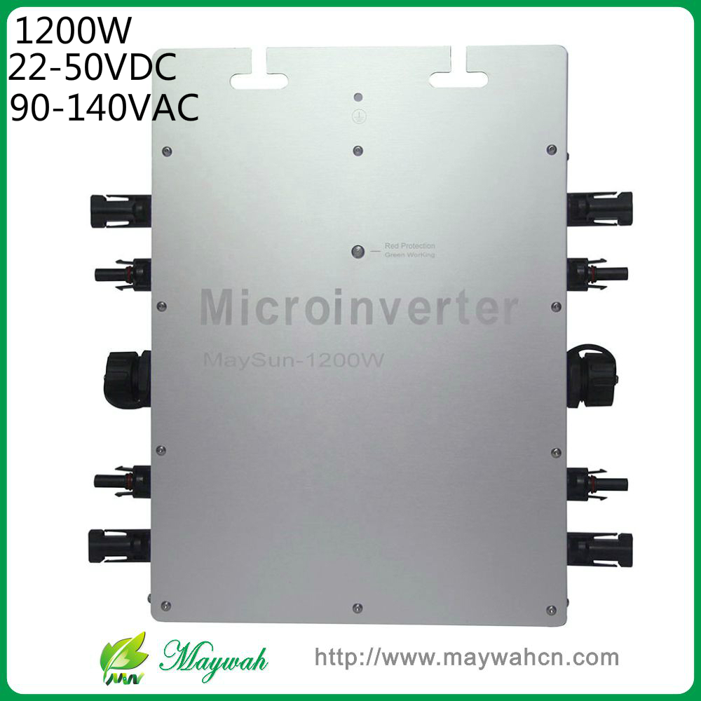 MAYLAR@ MaySun 1200W IP65 Waterproof Solar Power Micro Inverter, 22-50V Micro Grid Tie Inverter with 4 MPPT great efficiency