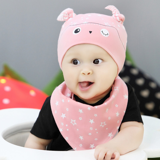 2 pcs nice cartoon baby hats sets printing cotton triangle baby boys 2 pcs nice cartoon baby hats sets printing cotton triangle baby boys girl bibs burp cloths thecheapjerseys Images