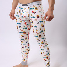 Men Hip Hop Print Leggings Winter Warm Cotton Cartoon Cute Colorful Thermal Underwear Slim Elasticity Youth Sexy Funny