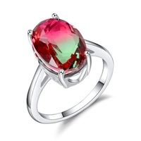 Solid 925 Sterling Silver Rings For Women 10 14mm Watermelon Tourmaline Color Created Crystal Wedding Ring